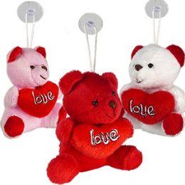 120 Units of Plush Love Heart Bear Window Hangers - Valentines