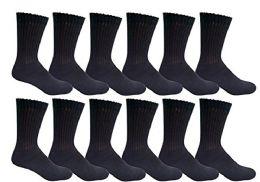 6 Bulk Yacht & Smith Men's Loose Fit NoN-Binding Soft Cotton Diabetic Crew Socks Size 10-13 Black