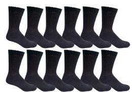 6 Bulk Yacht & Smith Men's Loose Fit NoN-Binding Cotton Diabetic Crew Socks Black King Size 13-16