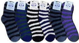 6 of Yacht & Smith Men's Warm Cozy Fuzzy Socks, Stripe Pattern Size 10-13