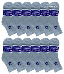 12 Bulk Yacht & Smith Women's Diabetic Cotton Ankle Socks Soft NoN-Binding Comfort Socks Size 9-11 Gray