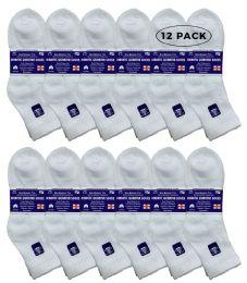 12 Bulk Yacht & Smith Women's Diabetic Cotton Ankle Socks Soft NoN-Binding Comfort Socks Size 9-11 White