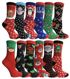 12 Bulk Yacht & Smith Christmas Holiday Socks, Sock Size 9-11