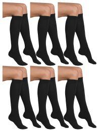 6 Bulk Yacht & Smith Girls Black Knee High Socks , 90% Cotton Size 6-8