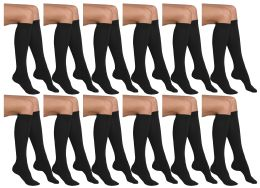 12 Bulk Yacht & Smith Girls Black Knee High Socks , 90% Cotton Size 6-8