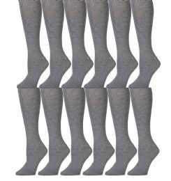 12 Bulk Yacht & Smith 90% Cotton Heather Gray Knee High Socks For Girls