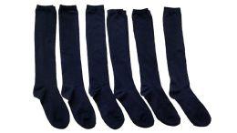 6 Bulk Yacht & Smith Girls Knee High Socks, Solid Colors Navy