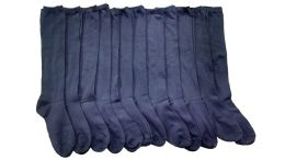 12 Bulk Yacht & Smith Girls Knee High Socks, Solid Colors Navy