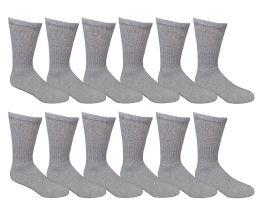 6 Bulk Yacht & Smith Men's Loose Fit NoN-Binding Soft Cotton Diabetic Crew Socks Size 10-13 Gray