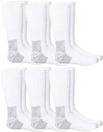 6 of Yacht & Smith Mens Heavy Duty Steel Toe Work Socks, White Size 10-13
