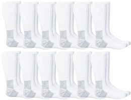 12 of Yacht & Smith Mens Heavy Duty Steel Toe Work Socks, White Size 10-13