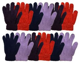 12 Bulk Yacht & Smith Women's Soft Warm And Fuzzy Solid Color Winter Gloves