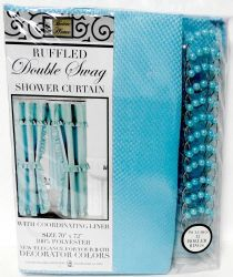 12 Bulk Double Swag Fabric Shower Curtain With Vinyl Liner And 12 Roller Shower Rings (turquoise