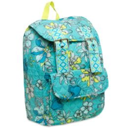"""24 Units of 16 Inch Quilted Cotton Backpack - Floral Print - Backpacks 16"""""""
