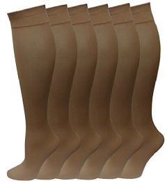 6 Bulk 6 Pairs Pack Women Knee High Trouser Socks Opaque Stretchy Spandex (many Colors) (beige)
