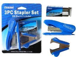 72 Units of 3 Piece Stapler Set - Staples & Staplers