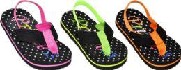 48 Wholesale Girls Assorted Color Flip Flops