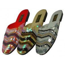 24 Units of Women's Sequin Sandal Assorted Color - Women's Sandals