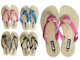 24 Units of Women's Slippers 4 Assorted Colors - Women's Flip Flops