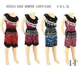 48 of Girls Fashion Summer Romper Assorted Color And Size