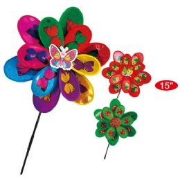 """48 Units of 15"""" Critters Windmill - Wind Spinners"""