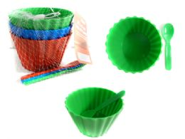 24 Units of 6 Pc Ice Cream Bowls With Spoons - Plastic Dinnerware