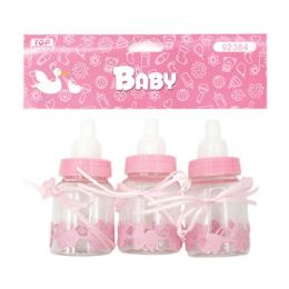 144 Units of Three Count Bottle Baby Pink - Baby Shower