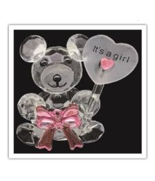 72 Wholesale Its A Girl Crystal Bear