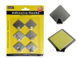 96 Units of 6pc Adhesive Hooks - Hooks