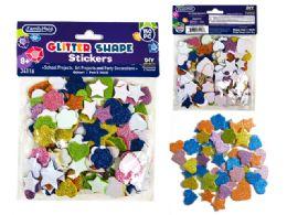 96 Bulk Glitter Craft Foam Shape Stickers