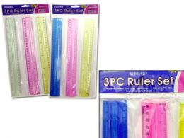 144 Units of 3 Piece Ruler In Assorted Colors - Hooks
