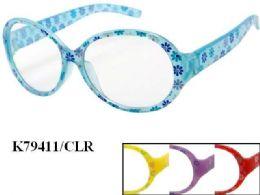 48 of Kids Plastic Frame Floral Eye Glasses Assorted Color