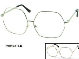 48 Units of Clear Lens Large Metal Eye Glasses - Eyeglass & Sunglass Cases