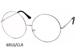 48 Units of Clear Lens Large Round Metal Eye Glasses - Eyeglass & Sunglass Cases