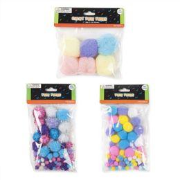 72 Units of Pastel Glitter Pom Poms - Pom Poms and Feathers