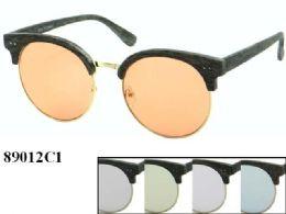 48 Wholesale Womens Round Plastic Sunglasses Assorted