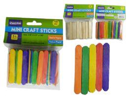 144 Wholesale 120pc Mini Craft Sticks, Wood & Color