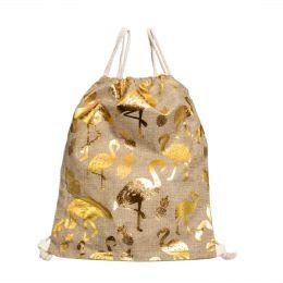 24 Units of Metallic Flamingo Print Bulk Drawstring Backpacks In Gold And Silver - Draw String & Sling Packs