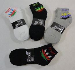 24 Bulk Men's Anklets 10-13 [marijuana/sport] Blk/gry/white