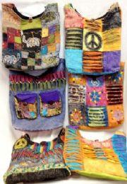 6 Bulk Assorted Nepal Hobo Bags Tie Dye Fabric Handmade Sling