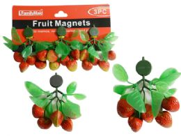 144 Units of Fruit Magnets 3 Piece Strawberry Packing - Refrigerator Magnets