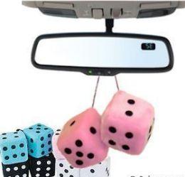 72 Units of Assorted Color Mini Plush Fuzzy Dice - Auto Accessories