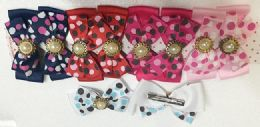 144 Units of Girls Rhinestone Assorted Colored Hair Clip - Hair Accessories