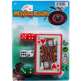 72 Bulk Single Deck Playing Cards W/6pc Dice On Card