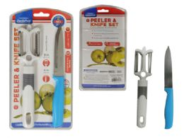 """96 Units of 2pc Vegetable Peeler And Knife Knife Size: 4"""" - Kitchen Knives"""