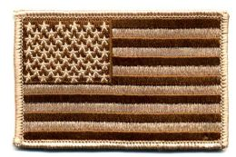 """48 Units of Embroidered Iron On Patch, U.s. Flag - Desert, Approxiamtely 3.5"""" Wide - Flag"""