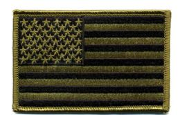 """48 Units of Embroidered Iron On Patch, U.s. Flag - Subdued, Approxiamtely 3.5"""" Wide - Flag"""