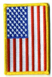 """48 Units of Embroidered Iron On Patch, Reverse U.s. Flag, Approximately 3.5"""" High - Flag"""