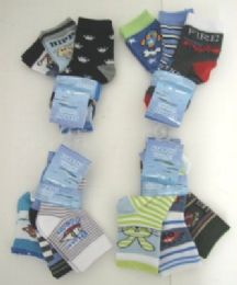 96 Units of Baby Boy Assorted Print Socks - Baby Accessories