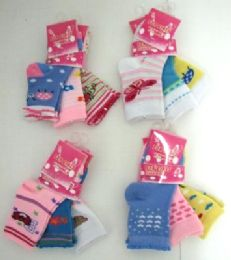 96 Units of Baby Girls Printed Crew Socks, Size 0 To 12 Months, Assorted Styles - Baby Apparel